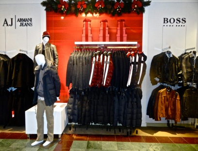 Hugo Boss AJ Armani Jeans Outerwear Holiday Christmas Visual Merchandising Mannequin Leather Kiss