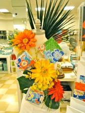 Brasil Brazil The Cellar Orange Yellow Neon Dishes Cup Mug Bright Fun Colorful Tropical Palm Leaf Window Display Visual Merchandising Macy's Sherman Oaks