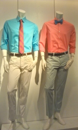 Featuring Kenneth Cole and DKNY Tie Bowtie Coral Salmon Blue Orange Plaid Hamptons Formal Sportswear Belt Kaki Vibrant