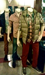 Guess Men's Fashion Vest Puff Salmon Plaid Tiger Graphic Tee Maroon Jeans Casual Sportswear Mannequin Macy's Sherman Oaks