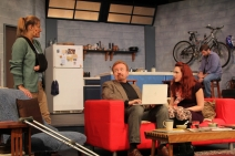 Ophelia's Jump Productions, Claremont, California, Time Stands Still, Red Couch, Bike Rack, Set Dressing, Prop, Props, Props Designer, Artisan, Seattle, WA, Theatre, Theater, Live Theatre, Local Theatre, Fringe Theatre, Blue Chair, Makeup Design, Photography, Lighting, Cinderblock,