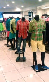 Cedric Wright, Neon Color Colorful Store Display Visual Merchandiser Merchandising Mannequin Summer Fun Stripes Plaid Shorts How To Glendale California LA Los Angeles Americana