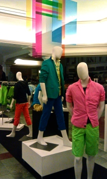 Cedric Wright, Neon Color Colorful Store Display Visual Merchandiser Merchandising Mannequin Summer Fun Stripes Shorts How To