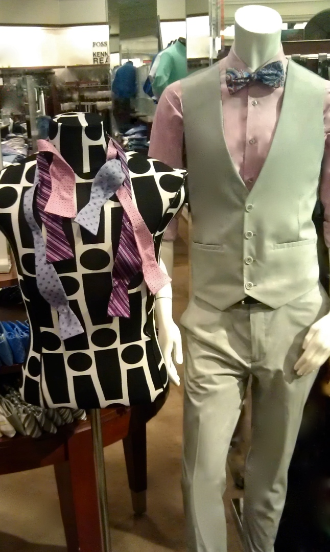 Cedric Wright, Bowtie, Bust Form Men's Fashion Vest How To Pink Lavender Purple Stripes Mix Match Patterns