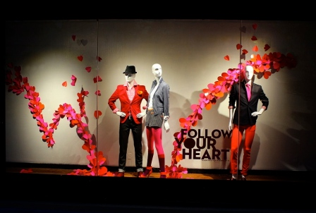Cedric Wright, Valentine Day Follow Your Heart Hearts Pink Red Orange Fashion Window Display Visual Merchandising Valentine's Beverly Center